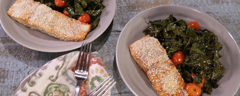 New Recipe: Balsamic Salmon and Kale Sheet Pan Dinner