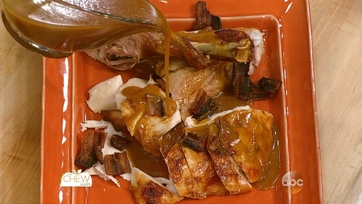 Roasted Beer-Brined Turkey with Onion Gravy and Bacon: Part 2