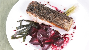 Mustard-Crusted Salmon with Roasted Beets and Scallions: Part 1