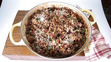 Risotto from the Oven with Sausage and Bell Pepper