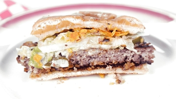 Chip-Encrusted Sausage Burger with Blue Cheese Fondue: Part 1