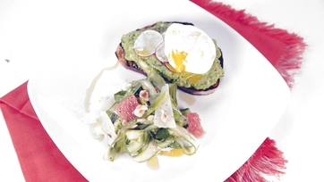 Spring Pea Crostini with Poached Eggs & Shaved Asparagus Salad: Part 1