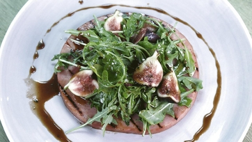 Grilled Ham Steak with Figs & Arugula