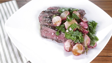 Grilled Flat Iron Steaks with White Anchovy Butter & Roasted Radish Salad: Part 1