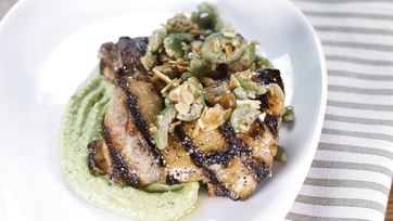 Grilled Chicken Thighs with Fava Bean Hummus: Part 1