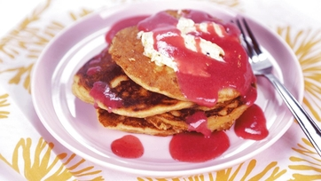 Strawberry Lemon Puree & Cornmeal Griddle Cakes