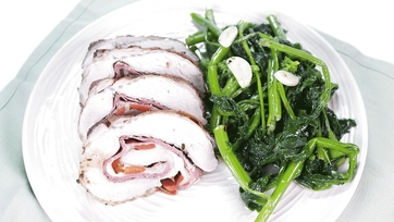 Salami and Provolone Stuffed Pork Loin with Sauteed Broccoli Rabe: Part 2
