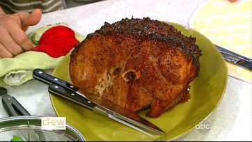 Glazed Ham with Snow Peas