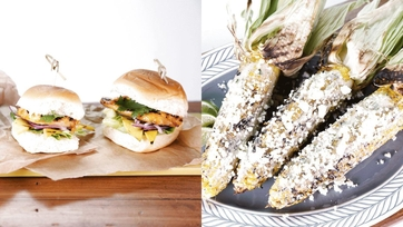 Grilled Sweet Chili Ranch Sliders & Avocado Ranch Grilled Corn