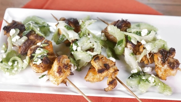 Buffalo Chicken Kebabs with Celery Blue Cheese Salad: Part 2