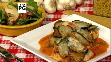Lidia\'s Skillet Gratinate of Zucchini and Chicken