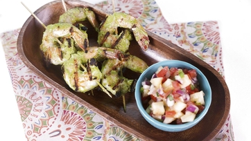 Green Dragon Shrimp Skewers with Grilled Pineapple Pico de Gallo: Part 1