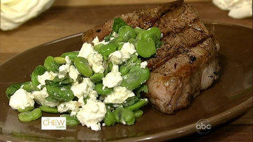 Grilled T-Bone Lamb Chops with Fava Bean and Feta Salad
