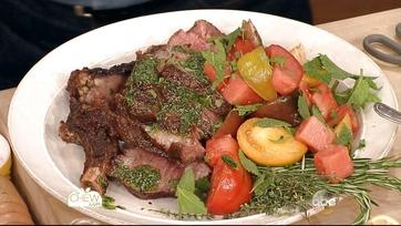 Double Cut Rib Steak Tagliata with Tomato Watermelon Salad