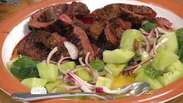 Spicy Grilled Skirt Steak with Grilled Honeydew Salad: Part 2