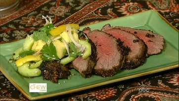 Asian Beef Tenderloin and Spicy Cucumber and Pineapple Salad