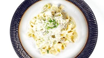 Mario Batali's Goat Cheese Fettuccine Recipe: Part 1