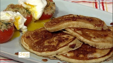 Michael\'s Bacon Pancakes and Baked Tomatoes!