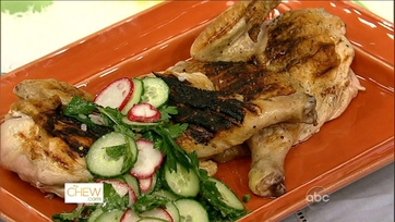 Grilled Chicken with Salsa Verde and Radish Salad