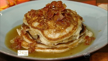 Bacon Pancakes with Maple Bourbon Butter Sauce Recipe by Daphne Oz