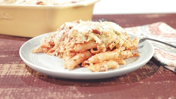 Baked Penne with Double Cheese Fondue and Pretzel Topping Recipe by Mario Batali