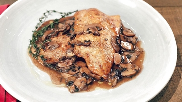 Chicken Scaloppine with Red Wine Mushroom Sauce Recipe by Michael Symon
