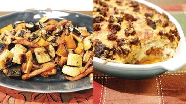 Scalloped Potatoes with Chorizo Recipe & Roasted Vegetables with Rosemary Recipe