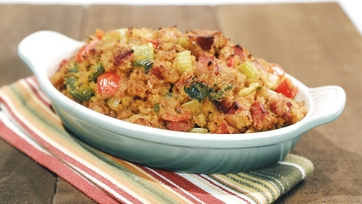 Cornbread Stuffing with Jalapeno and Andouille Recipe by Mario Batali