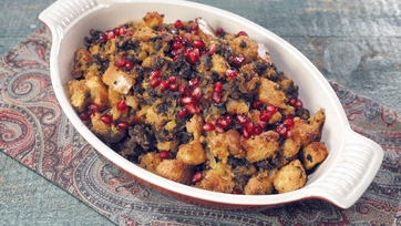Brioche Stuffing with Merguez, Dates and Pomegranate Recipe by Mario Batali