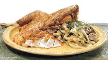 Spatchcock Turkey with Braised Fennel and Sausage Recipe by Mario Batali: Part 1