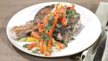 Smothered Pork Chops with Sweet & Sour Peppers Recipe by Mario Batali