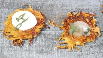 Sweet Potato Latkes Recipe by Mario Batali: Part 1