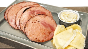 Molasses Glazed Ham with Cornmeal Crepes and Honey Butter Recipe by Mario Batali