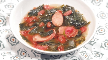 Andouille and Collard Greens Soup Recipe by Carla Hall