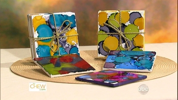 Ink Dye Coasters and Paint Chip Calendar