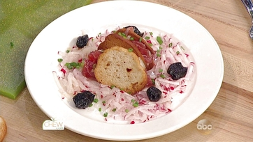 Tuna Tartare with Bagel Chips and Radishes by Jacques Pepin