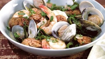 Steamed Gulf Shrimp with Clams and Sausage in a Green Chile-Basil Brodetto Recipe