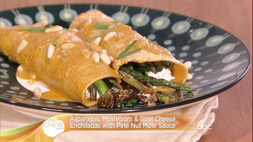 Asparagus, Mushroom & Goat Cheese Enchiladas with Pine Nut Mole Sauce Recipe by Pati Jinich