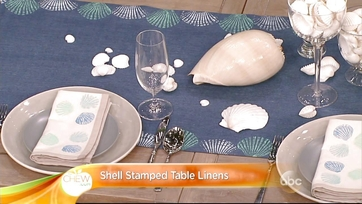 Shell Stamped Table Linens