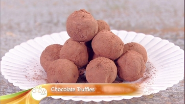 Chocolate Truffles with Mother\'s Day Flower Covered Wax Paper