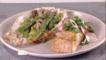 Wood Planked Halibut with Herb Salad & Spring Vegetables in Cartoccio: Part 2