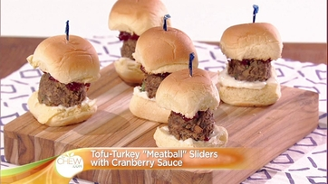 Tofu Turkey Meatball Sliders with Cranberry Sauce