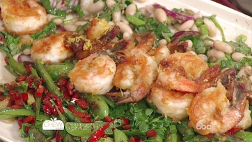 Crispy Shrimp with Charred Snap Peas, White Beans & Sriracha Mint Dressing: Part 1