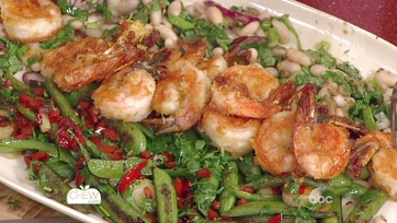 Crispy Shrimp with Charred Snap Peas, White Beans & Sriracha Mint Dressing: Part 2