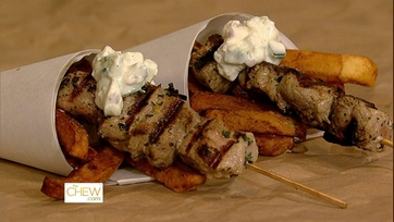 Pork Souvlaki with Double Cooked Fries and Buffalo Chicken Waffle Cone with Slaw: Part 2
