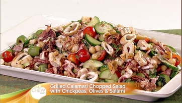 Grilled Calamari Chopped Salad with Chickpeas, Olives & Salami: Part 2