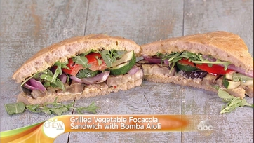 Mario Batali\'s Grilled Vegetable Focaccia Sandwich with Bomba Aioli