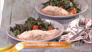 Daphne Oz\'s Balsamic Salmon and Kale Sheet Pan Dinner