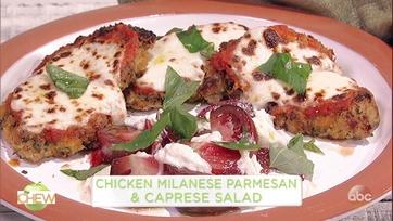 Mario Batali and Justin Bartha Make Chicken Milanese Parmesan on The Chew
