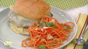 Michael Symon\'s Olive Burger with Provolone and Daphne Oz\'s Carrot Mint Salad: Part 2